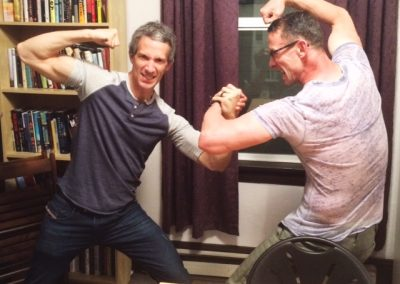 Chuck Palahniuk and me brawling after final workshop session_May 8 2017